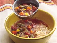 Beef and Veggie Soup with Mozzarella