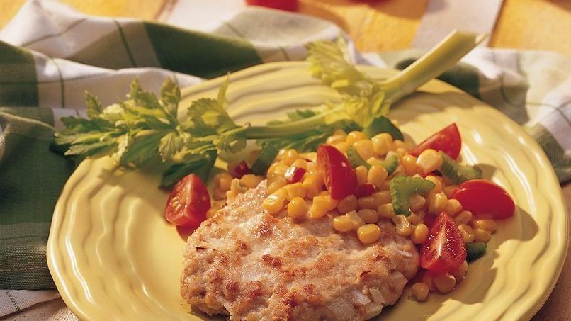 California-Style Turkey Patties with Corn and Tomato Relish