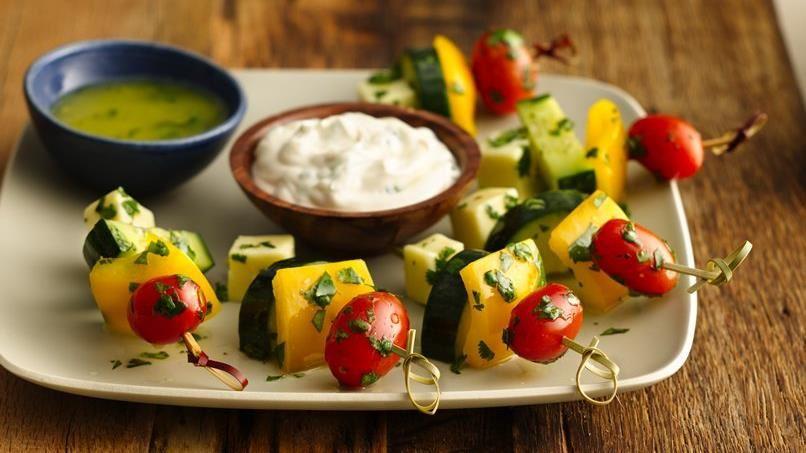 Fresh Vegetable Kabobs with Jalapeño Aioli