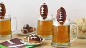 Beer Mug Cheese Stuffed Football Pretzels