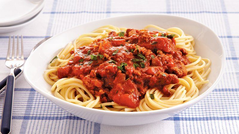 Slow-Cooker Turkey Sausage Tomato Sauce recipe from Betty Crocker
