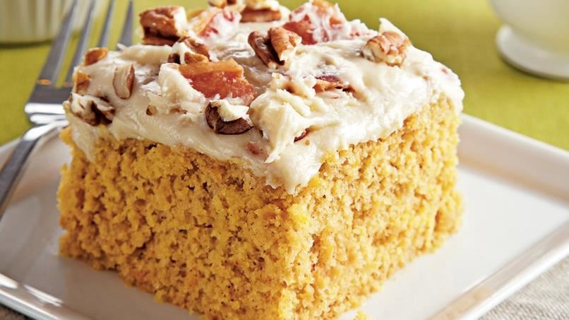Sweet Potato Sheet Cake with Bacon Cream Cheese Frosting