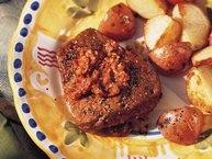 Grilled Tomato Pesto-Stuffed Steaks