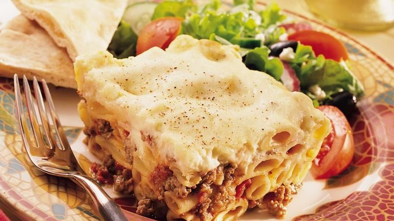 Greek Pasta, Beef and Cheese