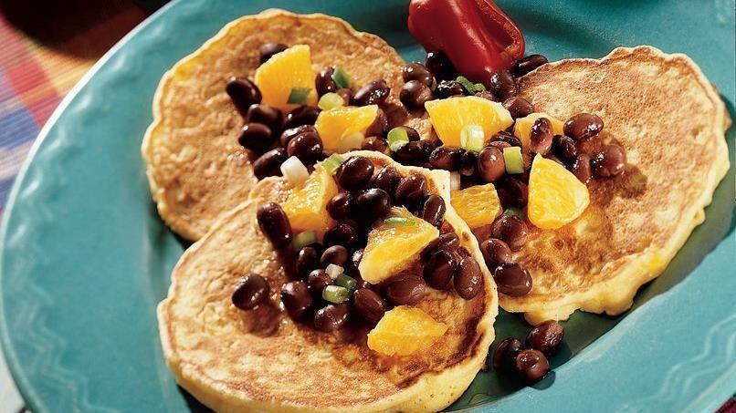 Corn Cakes with Orange-Black Bean Salsa