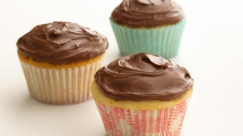 Healthified Chocolate Frosted Cupcakes recipe from Betty Crocker
