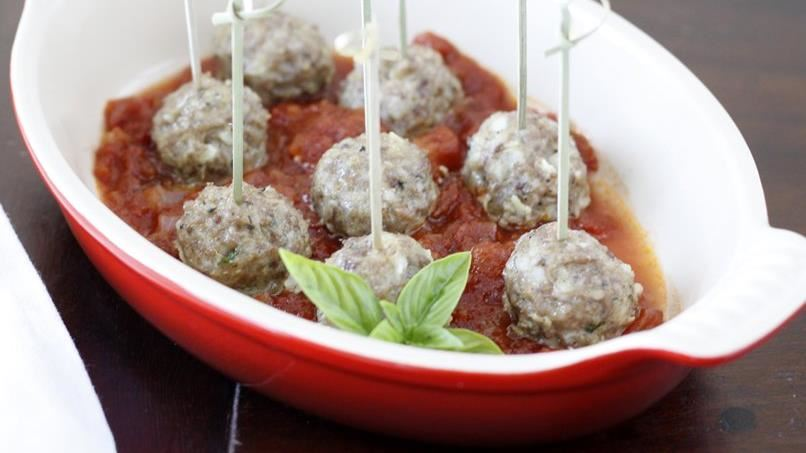 Mozzarella-Stuffed Sausage Meatballs