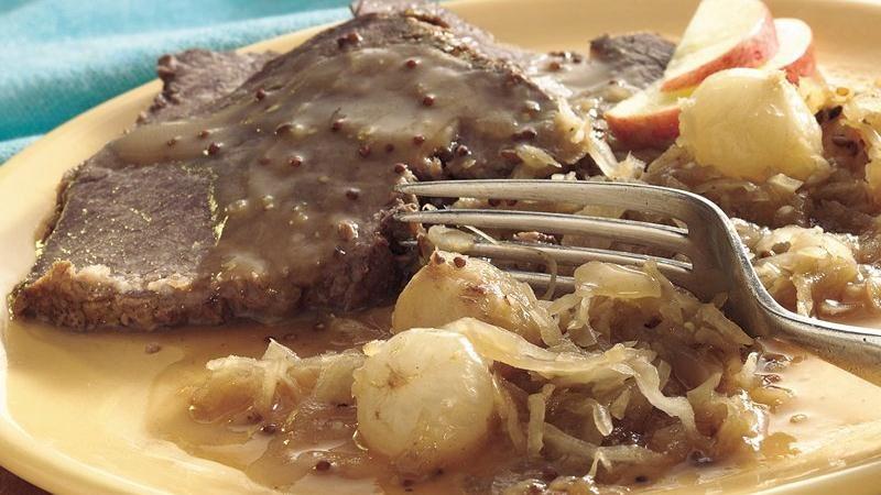 Slow-Cooker Bavarian-Style Beef and Sauerkraut