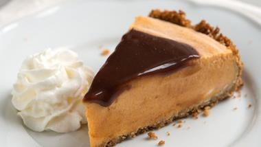 Frozen Pumpkin Pie with Tequila Chocolate Topping