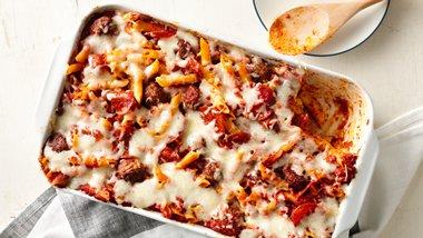 One-Pan Meatball and Pepperoni Pasta Bake