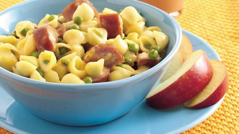 Mac and Cheese Shells with Sausage