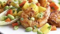 Skinny Cajun Shrimp with Mango-Edamame Salsa