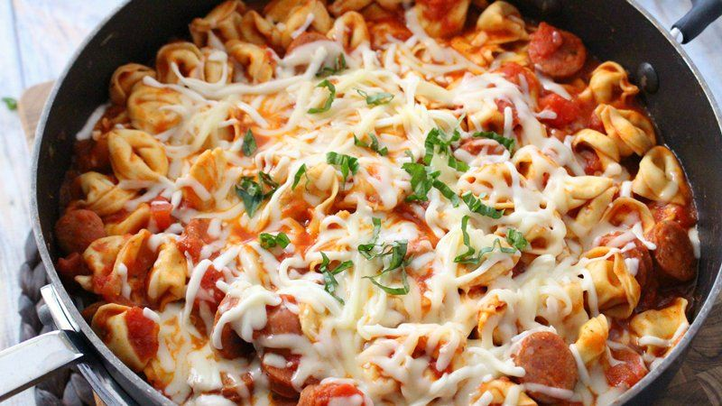 One-Pot Cheesy Tortellini and Sausage recipe from Betty Crocker