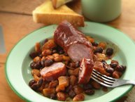Slow-Cooker Barbecued Beans and Polish Sausage