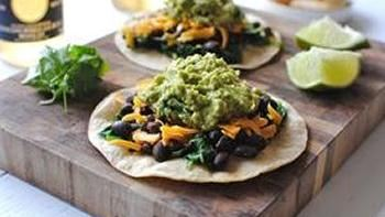 Easy Spinach, Black Bean and Guacamole Tostadas