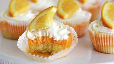 Creamy Orange Sherbet Cupcakes