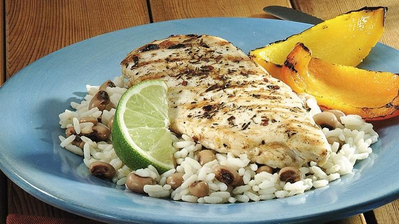 Jerk Chicken with Black-Eyed Peas and Rice