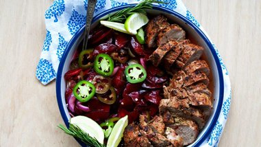 Grilled Pork Tenderloin with Jalapeño-Plum Relish