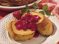Baked French Toast with Strawberry-Rhubarb Sauce