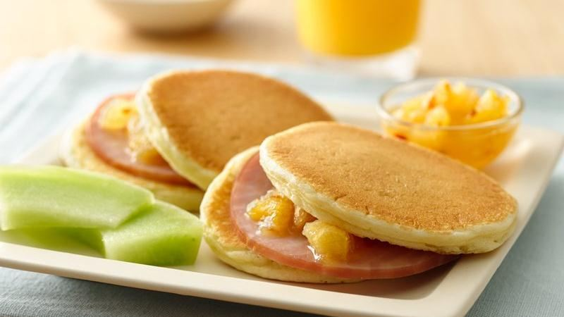 Ham Pancake Sliders with Pineapple Sauce