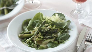 Skinny Spring Vegetable Salad Over Fresh Greens