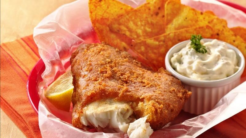 Southwestern beer batter fish with green chile tartar for Batter fried fish