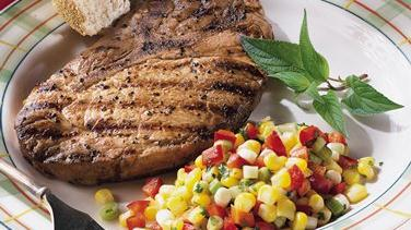 Pork Steaks with Crunchy Corn Relish