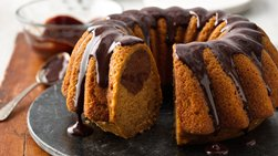One-Bowl Pumpkin-Chocolate Swirl Cake with Chocolate Ganache