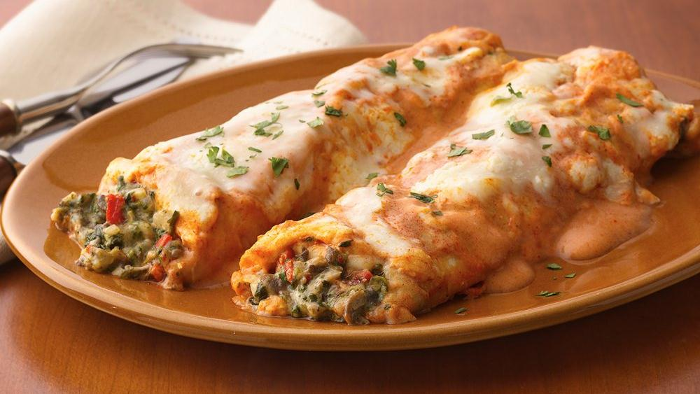 Spinach and Mushroom Enchiladas with Creamy Red Sauce