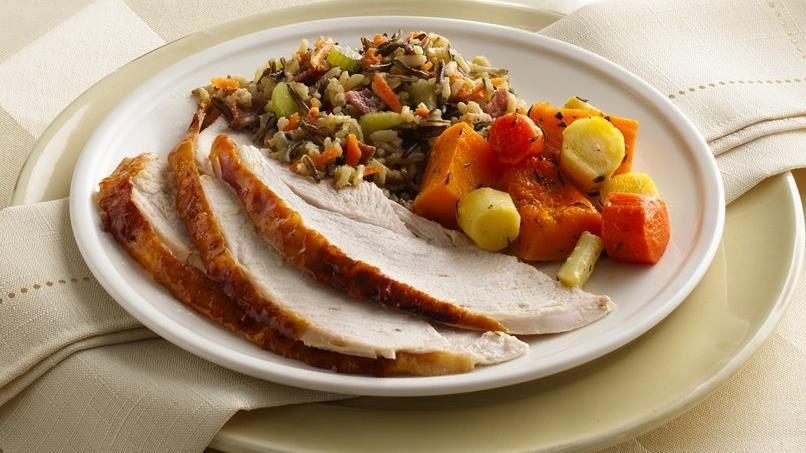 Maple-Glazed Turkey with Wild Rice Stuffing