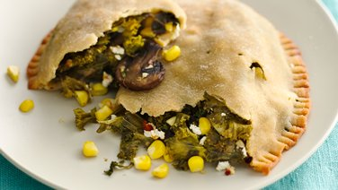 Gluten-Free Garlicky Mushroom, Kale and Goat Cheese Calzones