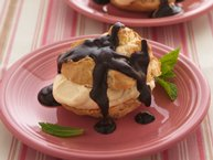 Caramel Cream Puffs with Chocolate-Peanut Butter Sauce