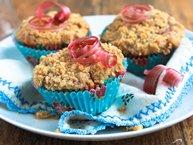 Spiced Raspberry Rhubarb Muffins