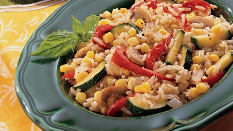 Lemon-Basil Vegetables and Rice