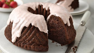 One-Bowl Strawberry-Covered Chocolate Bundt Cake
