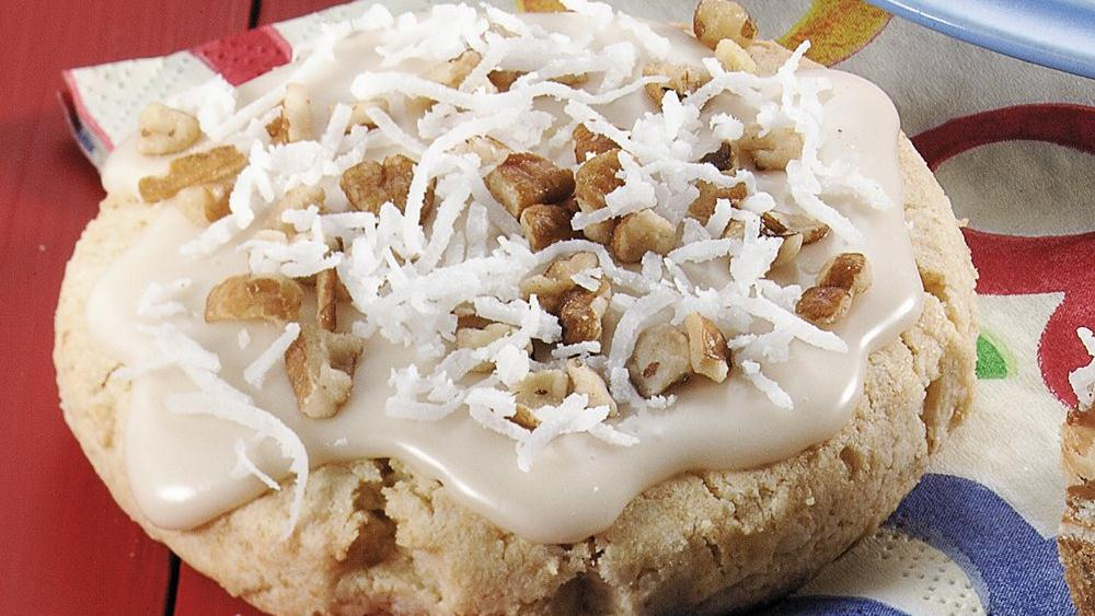 Vanilla-Glazed Pecan Coconut Cookie Scones