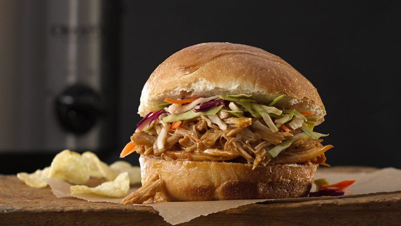Slow Cooker Hoisin Shredded Chicken Sandwich With Asian Slaw Recipes ...