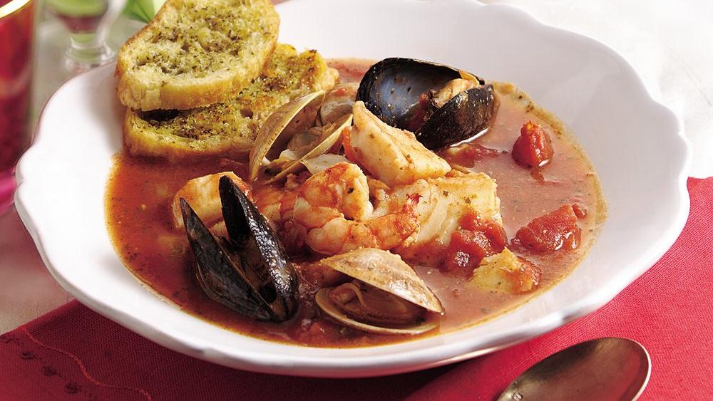 Italian Seafood Stew with Garlic-Herb Croutons