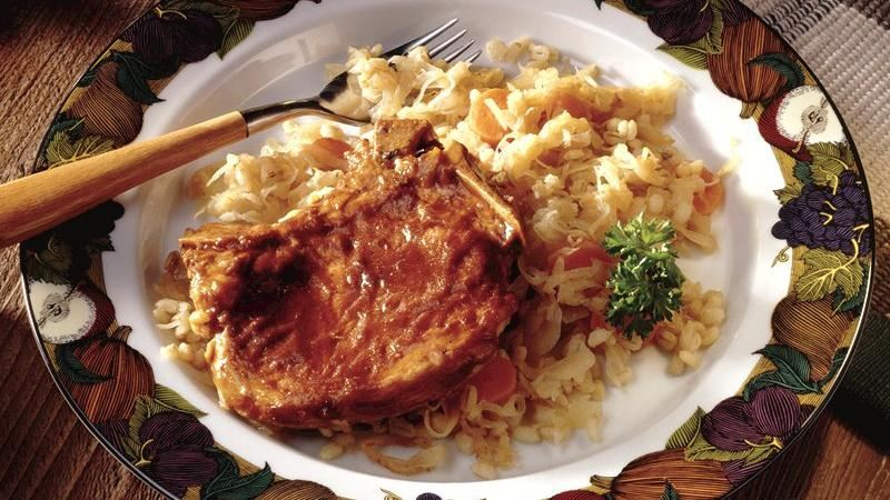 Bavarian Pork Chops and Sauerkraut