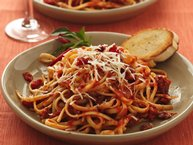 Linguine with Caramelized Onions and Angry Tomato Sauce