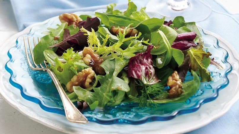Mixed Greens Salad with Warm Walnut Dressing