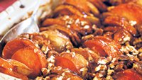 Roasted Apples and Sweet Potatoes in Honey-Bourbon Glaze