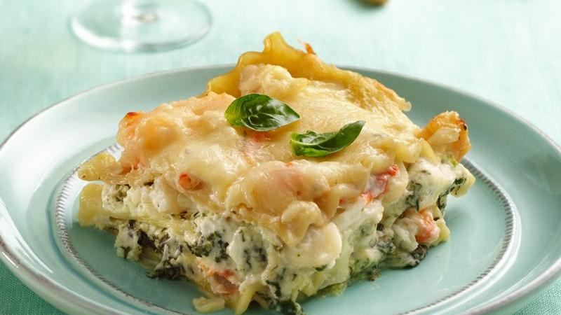 Seafood-Spinach Lasagna recipe from Betty Crocker