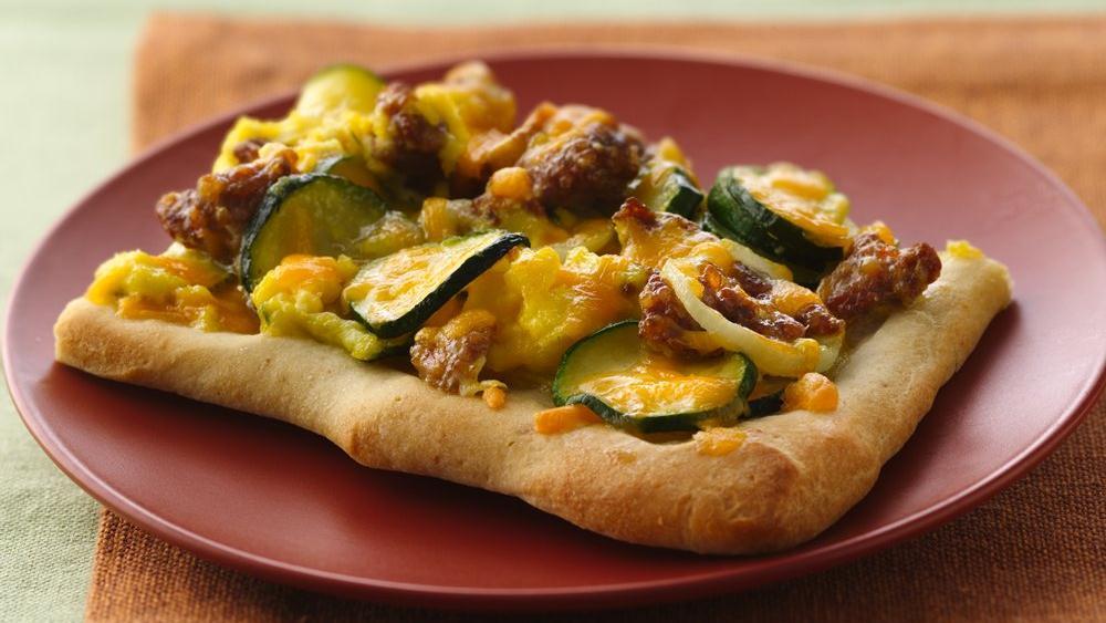 Sausage and Zucchini Breakfast Pizza