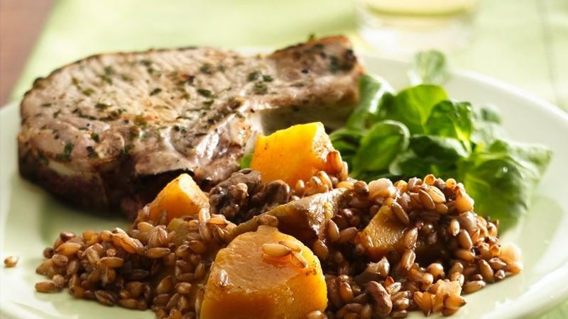 Slow-Cooker Rye Berries with Butternut Squash