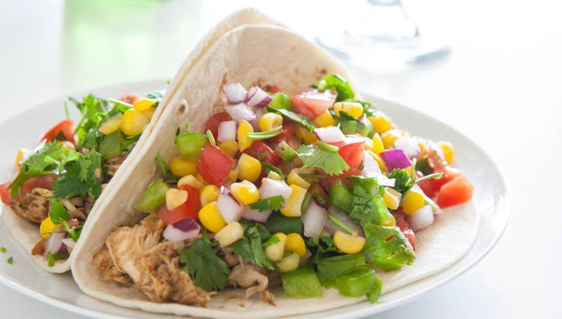 Slow-Cooker Chicken Tacos with Corn Salsa