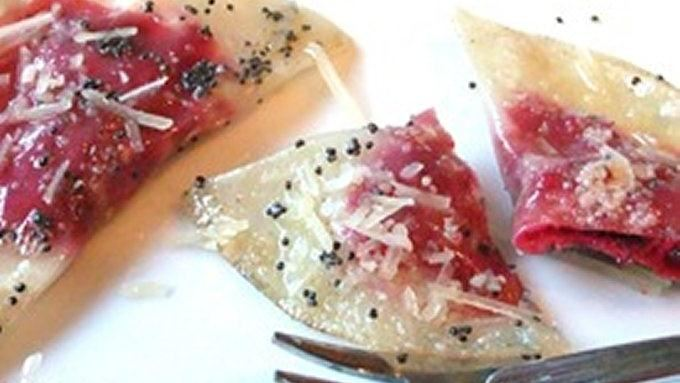 Beet Ravioli with Poppy Seed Butter recipe - from Tablespoon!