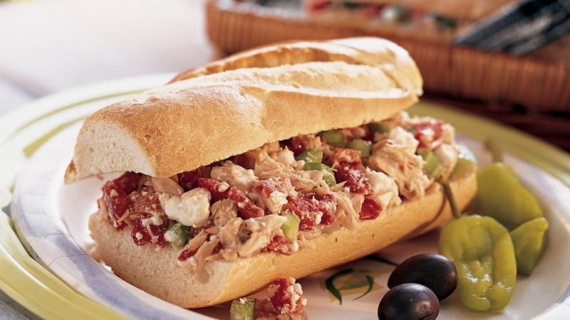 Greek-Style Tuna Salad Sandwiches recipe from Betty Crocker