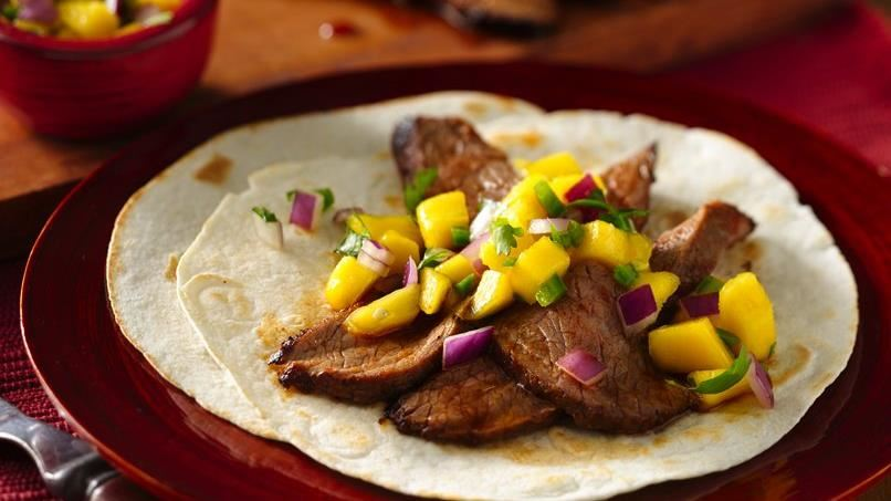 Flank Steak Tacos with Mango Salsa