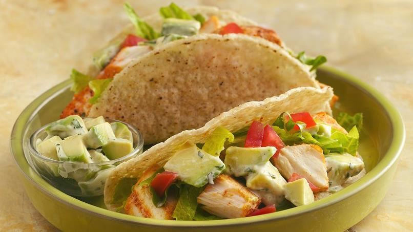 Grilled Fish Tacos with Creamy Avocado Topping